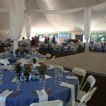 Catskill Mountain Weddings Table Settings and Dance Floor under huge tent at Blackthorne Resort